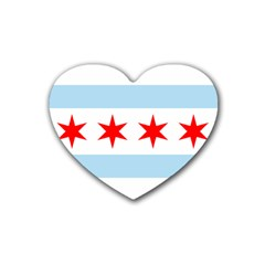 Flag Of Chicago Rubber Coaster (heart)