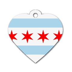 Flag Of Chicago Dog Tag Heart (two Sides)