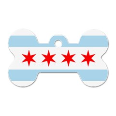 Flag Of Chicago Dog Tag Bone (two Sides)