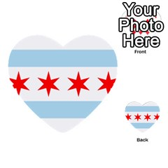 Flag Of Chicago Multi Purpose Cards (heart)