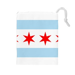 Flag Of Chicago Drawstring Pouches (Large)
