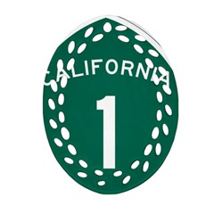 California 1 State Highway   Pch Oval Filigree Ornament (2-Side)