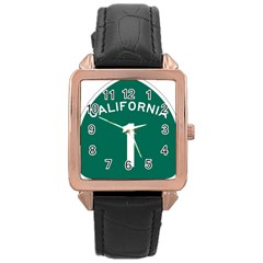 California 1 State Highway   Pch Rose Gold Leather Watch