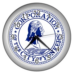 Seal Of Yonkers, New York  Wall Clocks (Silver)