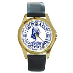 Seal Of Yonkers, New York  Round Gold Metal Watch