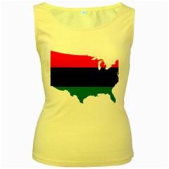 Pan Afrcian Flag Map Of Usa Women s Yellow Tank Top