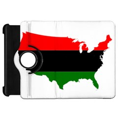 Pan Afrcian Flag Map Of Usa Kindle Fire HD Flip 360 Case