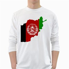 Flag Map Of Afghanistan White Long Sleeve T-Shirts