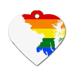 Lgbt Flag Map Of Maryland  Dog Tag Heart (One Side)