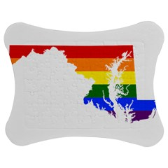 Lgbt Flag Map Of Maryland  Jigsaw Puzzle Photo Stand (Bow)