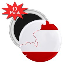 Flag Map Of Austria 2.25  Magnets (10 pack)