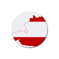 Flag Map Of Austria Rubber Round Coaster (4 pack)