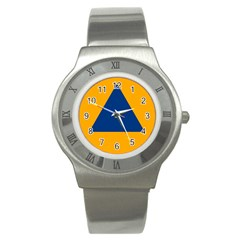 International Sign Of Civil Defense Roundel Stainless Steel Watch