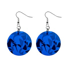 Blue pattern Mini Button Earrings