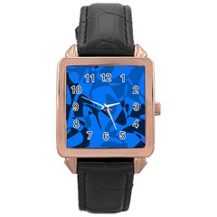 Blue pattern Rose Gold Leather Watch