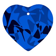 Blue pattern Heart Ornament (2 Sides)