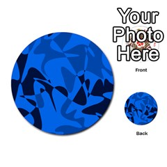 Blue pattern Multi-purpose Cards (Round)