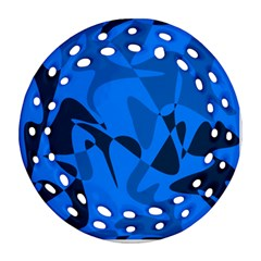 Blue pattern Round Filigree Ornament (2Side)