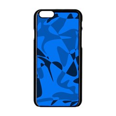 Blue pattern Apple iPhone 6/6S Black Enamel Case