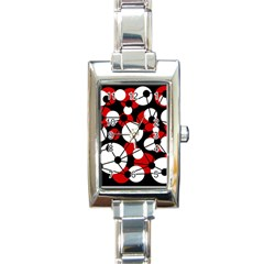 Red, black and white pattern Rectangle Italian Charm Watch