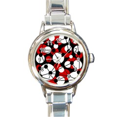 Red, black and white pattern Round Italian Charm Watch