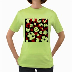 Red, black and white pattern Women s Green T-Shirt