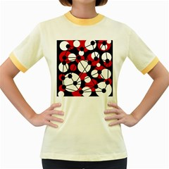 Red, black and white pattern Women s Fitted Ringer T-Shirts