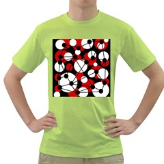 Red, black and white pattern Green T-Shirt