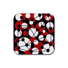 Red, black and white pattern Rubber Coaster (Square)