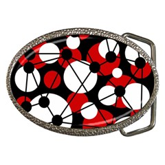 Red, black and white pattern Belt Buckles
