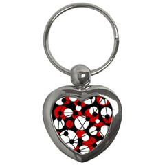 Red, black and white pattern Key Chains (Heart)