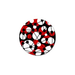Red, black and white pattern Golf Ball Marker (4 pack)