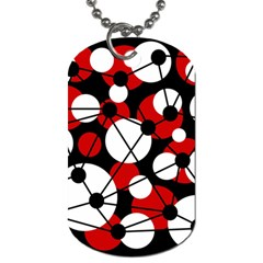 Red, black and white pattern Dog Tag (Two Sides)