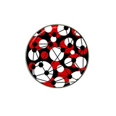 Red, black and white pattern Hat Clip Ball Marker