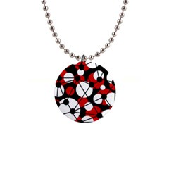 Red, black and white pattern Button Necklaces