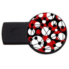 Red, black and white pattern USB Flash Drive Round (4 GB)