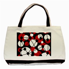 Red, black and white pattern Basic Tote Bag