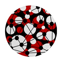 Red, black and white pattern Round Ornament (Two Sides)