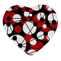 Red, black and white pattern Heart Ornament (2 Sides)