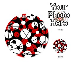 Red, black and white pattern Playing Cards 54 (Round)