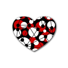 Red, black and white pattern Rubber Coaster (Heart)