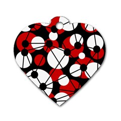 Red, black and white pattern Dog Tag Heart (One Side)