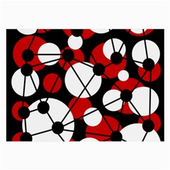 Red, black and white pattern Large Glasses Cloth (2-Side)