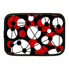 Red, black and white pattern Netbook Case (Medium)