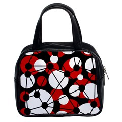 Red, black and white pattern Classic Handbags (2 Sides)
