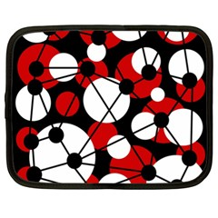 Red, black and white pattern Netbook Case (XL)
