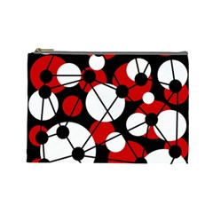 Red, black and white pattern Cosmetic Bag (Large)