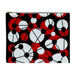 Red, black and white pattern Cosmetic Bag (XL)