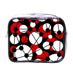Red, black and white pattern Mini Toiletries Bags