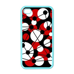 Red, black and white pattern Apple iPhone 4 Case (Color)
